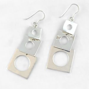 Gorgeous Tri-square Earrings 925 Sterling NEW